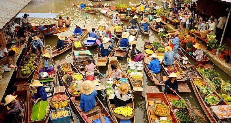 بازارچه شناور قایقی در تایلند